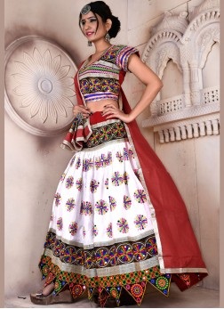 Absorbing Multi Colour Embroidered garba ChaniyaCholi