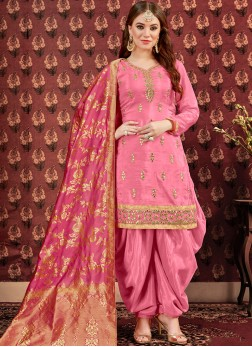 Absorbing Pink Festival Design for Punjabi Suit