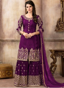Absorbing Purple Lace Viscose Designer Pakistani Suit