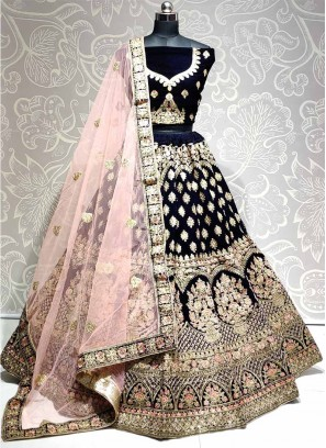 Acclaim Bridal Wear Thread & Dori Work On Lehenga Choli In Navy Blue