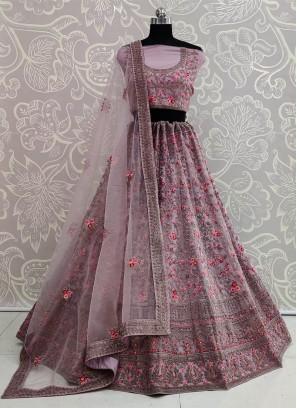 Adorable Bridal Purple Soft Net & Thread Lehenga Choli