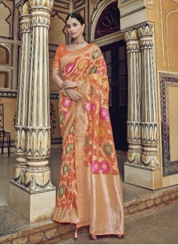 Adorable Orange Designer Pure Dola Silk Saree