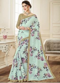 Adorable Print Aqua Blue Linen Printed Saree