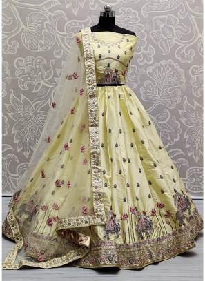 Adorable Yellow Colour Flaired Sober Work Wedding Girlish Lehenga Choli
