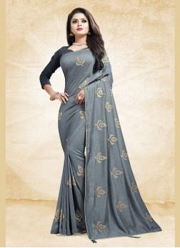 Adorning Print Art Silk Grey Designer Traditional Saree