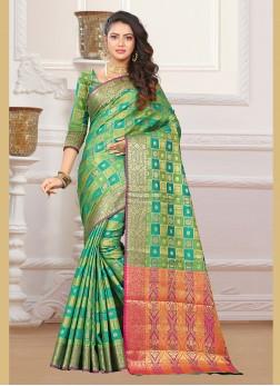 Aesthetic Art Silk Green Weaving Designer Traditional Saree