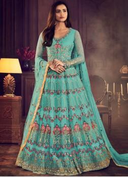 Aesthetic Blue Wedding Floor Length Anarkali Suit