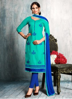 Aesthetic Embroidered Blue Churidar Suit