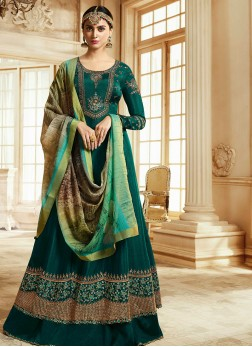 Aesthetic Faux Georgette Embroidered Green Floor Length Anarkali Suit