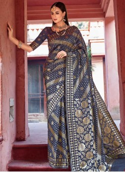 Aesthetic Weaving Blue Traditional Saree