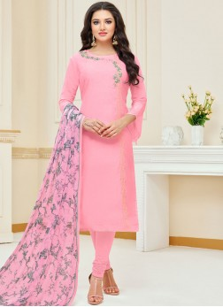 Affectionate Chanderi Cotton Embroidered Pink Churidar Suit