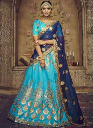 Affectionate Embroidered Blue Art Silk Lehenga Choli