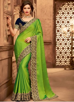 Affectionate Green Fancy Fabric Designer Traditional Saree