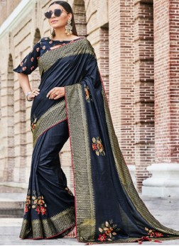 Affectionate Navy Blue Embroidered Traditional Saree