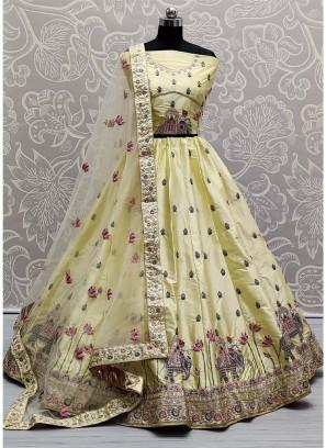 Allure Bridal Dori & Thread Work On Silk In Light Yellow Lehenga Choli