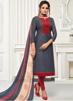 Alluring Handwork Grey Banarasi Silk Salwar Suit