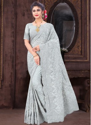 Alluring Resham & Glitter Coding Embroidery Work On Saree In Silver