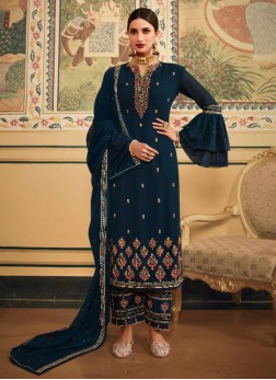 Alluring Thread Work Designer Salwar Suit In Full Teal