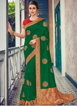 Amazing Art Silk Green Traditional Designer Saree