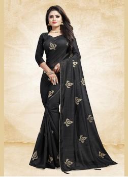 Amazing Black Ceremonial Traditional Designer Saree