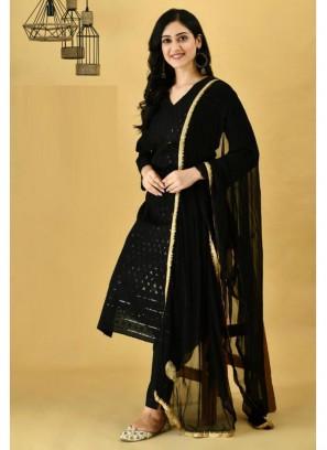 Amazing Black Cotton Kurti & Cotton Pant & Pure Chiffon Handwork Dupatta