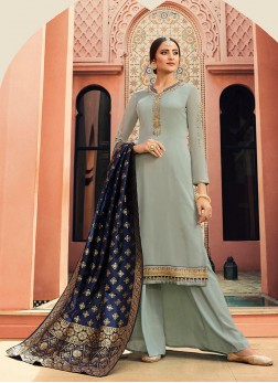 Amazing Blue Embroidered Designer Straight Salwar Kameez