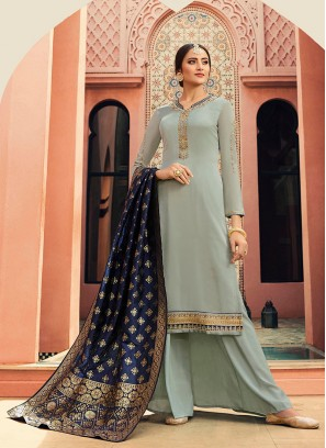 Pista Green Embroidered Designer Readymade Straight Salwar Kameez