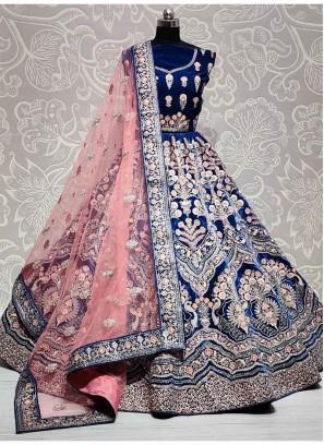 Amezing Craftsmanship Zari Embroidery Work Lehenga Choli In Blue