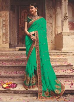 Amusing Green Mehndi Designer Saree