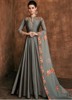 Anarkali Salwar Kameez Embroidered Rayon in Grey