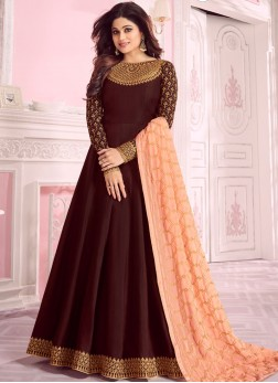 Anarkali Suit Embroidered Georgette in Maroon