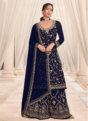 Angelic Georgette Blue Sharara Salwar Suit