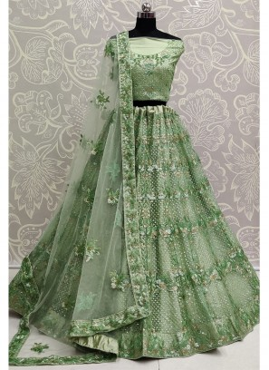 Angelic Green Apple Exceptionally Embroidered - Double Sequence Work Lehenga Choli