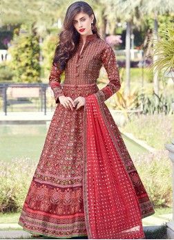 Angelic Red Digital Print Art Silk Readymade Suit