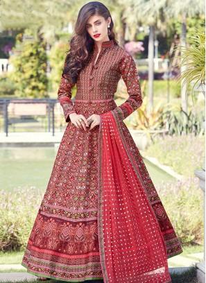 Angelic Red Digital Print Art Silk Readymade Suit