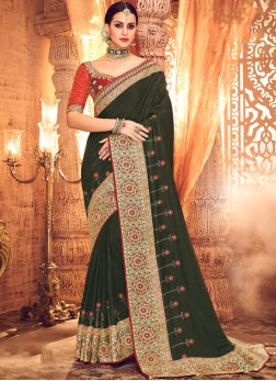 Angelic Resham Green Designer Saree