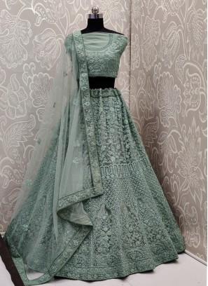 Angelic Sea Green Net Designer A Line Lehenga Choli