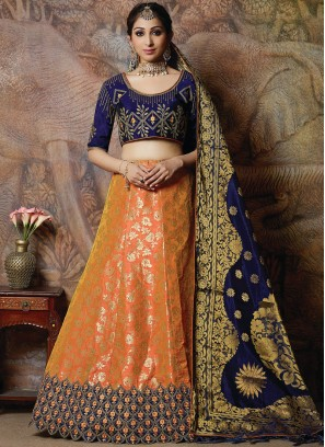 Angelic Silk Embroidered Designer Lehenga Choli in orange