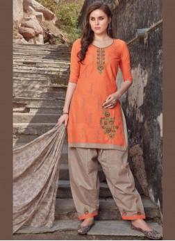 Appealing Cotton Embroidered Orange Salwar Suit