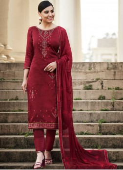 Appealing Cotton Embroidered Pant Style Suit