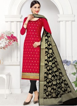 Appealing Fancy Fabric Woven Red Churidar Suit