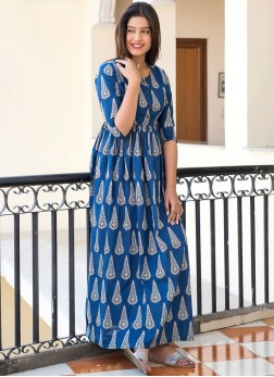 Appealing Muslin Blue Digital Print Trendy Gown