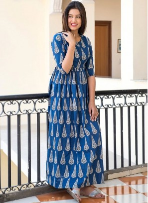 Appealing Muslin Blue Digital Print Trendy Gown