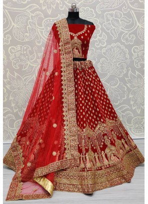 Appealing Red Bridal Lehenga Choli in Velvet with Heavy Dupatta