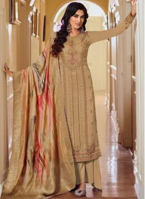 Appealing Resham Thread Work On Salwar Suit In Wheat
