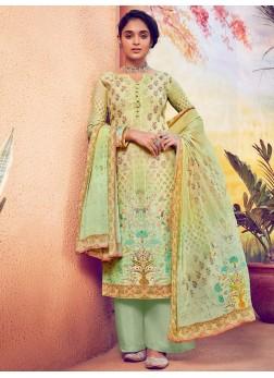 Appealing Resham Work & Digital Print On Salwar Suit In Green