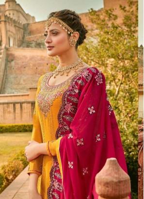 Appealing Thread Work On Georgette Pakistani Wear Salwar Suit In Yellow & Maroon