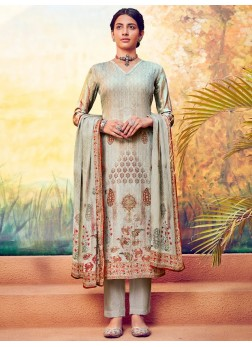 Appetizing Digital Print Work On Palazzo Style Suit In Silver