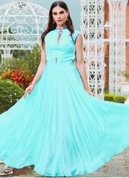 Aqua Blue Satin Print Readymade Gown