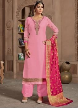 Pink Embroidered Partywear Designer Punjabi Suit
